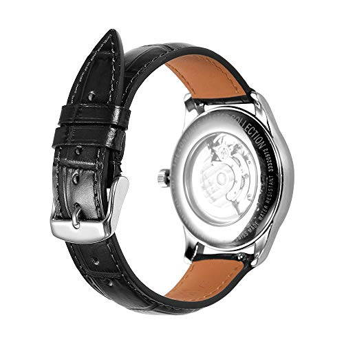 Alligator Grain Watch Band Quick Release Replacement Leather Watch Straps AISHIRUI Genuine Italian Calf Leather Black Bracelet with Silver Buckle for Men and Women (21mm, Tone-in-Tone Stitching) ()