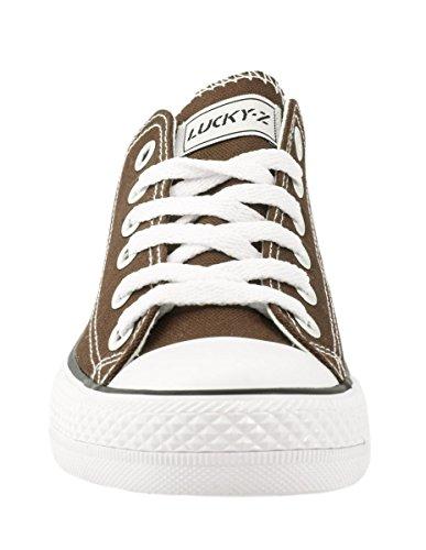 Elara Unisex Sneaker | Bequeme Sportschuhe Für Damen und Herren | Low Top Turnschuh Textil Schuhe 36-46 Braun
