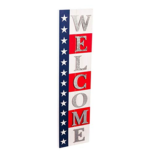 New Creative Evergreen Garden Welcome Americana Lit Wood and Metal Outdoor Sign