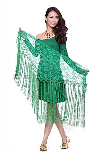 ZLTdream Women's Belly Dance Long Tassels Lace Triangle Hip Scarf Dark Green