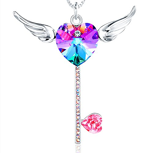 gifts Crystals from Swarovski Pendant Necklace Jewelry for girls Daughter women Wife Mom (Heart Shaped Key Pendant)