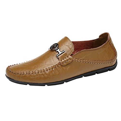 Snowman Lee Men's Premium Leather Loafers Fashion Wrinkle Pattern Casual Slip-on Driving Shoes Khaki 6.5 M - Lee Outlets Premium