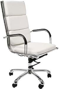 Kare 73877 Relax Nappalon - Silla de oficina en metal y cuero sintético (113 x 57 x 59 cm), color blanco