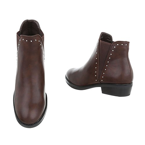 Women's Boots Block Heel Chelsea Boots at Ital-Design Brown iz0wj5