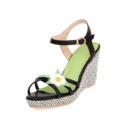 VogueZone009 Womens Open Toe High Heel Platform Wedges Micro Fiber Soft Material Assorted Colors Sandals with Flower, Black, 3 UK