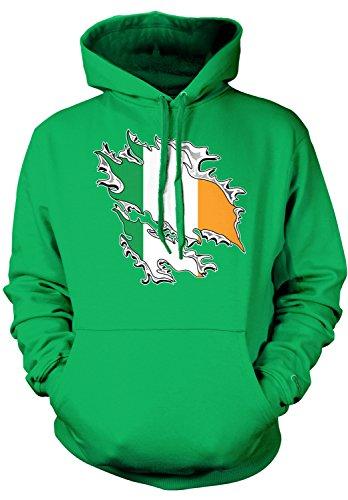 Ireland Flag Sweatshirt (Amdesco Men's Ireland Flag, Irish Tear Through Flag Hooded Sweatshirt, Kelly Green 2XL)