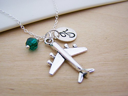 Airplane Charm Necklace - Personalized Sterling Silver Jewelry (Swarovski Airplane)