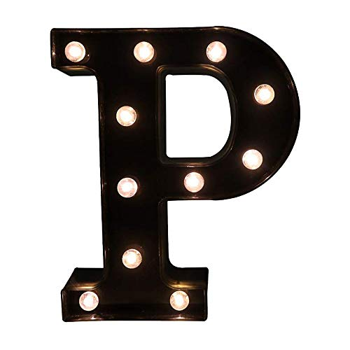 Glintee LED Marquee Letter Lights Black Alphabet Light Up Sign for Wedding Home Party Bar Decoration Battery Powered Letter Decor -P