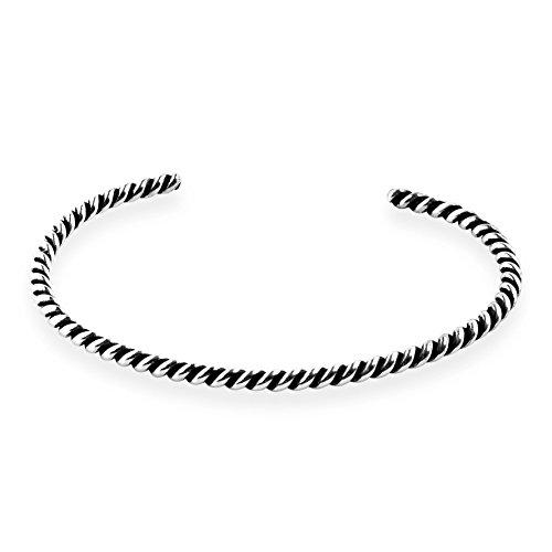 Silver Spiral Bracelet Sterling (AeraVida Handcrafted Spiral Twisted Sterling Silver Cuff Bracelet)