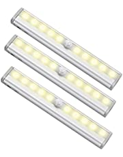 Motion Sensoring Magnetic Lights, Stick-on Night Light, Warm White Battery Operated Lighting, 10 LED Cordless Nightlight