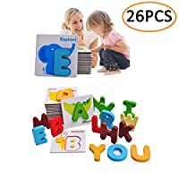 KOSBON Baby Flash Cards Animals Wooden Jigsaw Puzzles Alphabet Cards ABC Letter Card A to Z Educational Learning Words Cardboard Toys for Kids Toddlers Children
