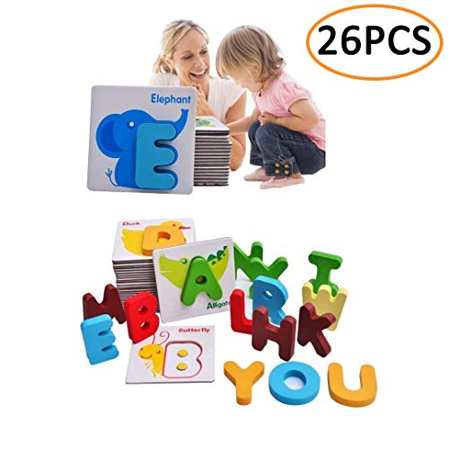 (Kolamom Baby Flash Cards Animals Wooden Jigsaw Puzzles Alphabet Cards ABC Letter Card A to Z Educational Learning Words Cardboard Toys for Kids Toddlers)