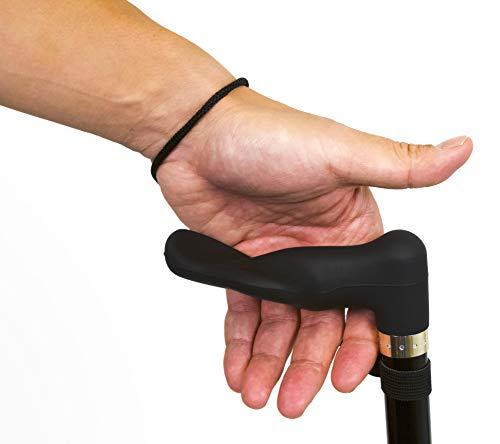 RMS Walking Cane with Palm Grip Orthopedic Handle for Left Hand - Adjustable Offset Cane to Fit Individual's Palm Naturally - Ideal for Anyone with Arthritis or Carpal Tunnel Syndrome - Black