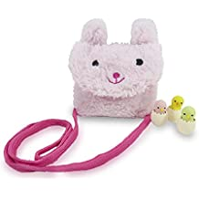 Mixed Cute Bunny Purse for Girls with Strap 5.5 x 5 Inches Pink with 3 Mini Puzzle Chicks in Eggs Erasers - the cute animals are actual erasers (Perfect 4 Piece Set for Girls)