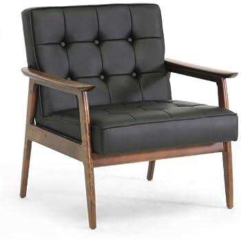 Amazon Com Rivet Huxley Leather Mid Century Accent Chair
