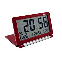 econoLED Multifunction Silent LCD Digital Large Screen Travel Desk Electronic Alarm Clock, Date/Time/Calendar/Temperature Display, Snooze, Folding Black & Silver (Red)