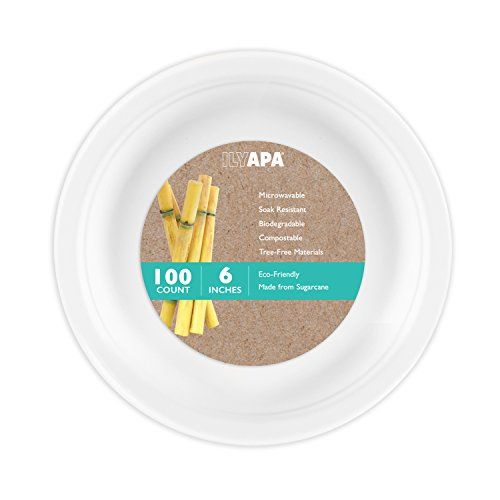 100 Biodegradable Disposable Plates - 6 Inch White Compostable & Microwavable Tree Free Sugarcane Plates for Dessert or Appetizer, Bulk Set