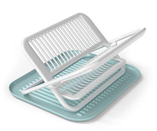 "Siliconezone Karim Collection 13.8"" Non-Slip Silicone Foldable Dish Rack, Blue"