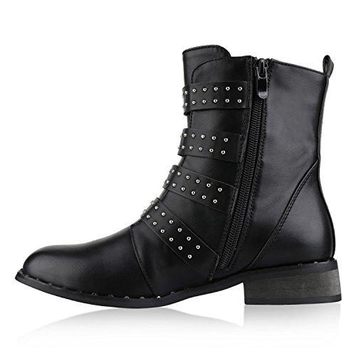 Boots Autol Damen Schwarz Schuhe Stiefelparadies Stiefeletten Schnallen Biker Nieten Flandell Gefütterte UCWBWq6n