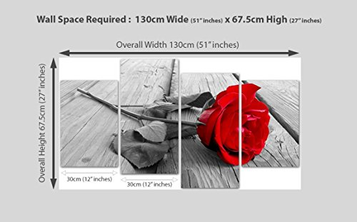 """Red Rose Floral Canvas Wall Art Pictures - Black White Grey Split Panel Set - XL - 130cm / 51"""" Wide"""