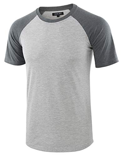DESPLATO Mens Casual Basic Vintage Active Short Raglan Sleeve Crew Neck T Shirt H.Gray/S.Green S