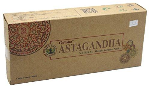 Goloka Organica Series - Astagandha - 6 Boxes of 15 Grams ( 90 Grams Total )