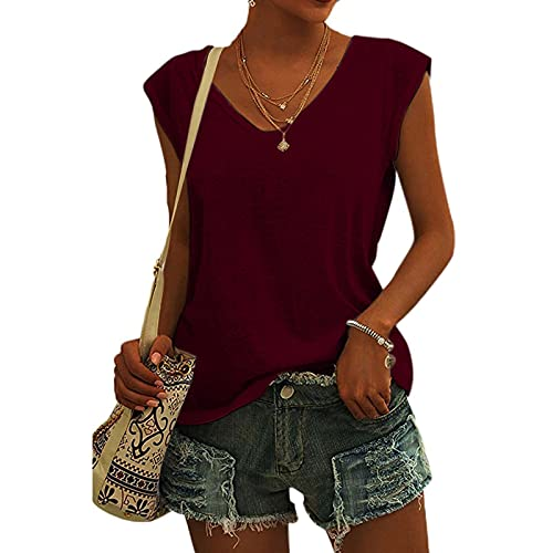 T Shirts for Women, Casual Solid V-Neck Short Sleeve Vest T-Shirt Loose Fit Tank Tops (Wine_6,M)