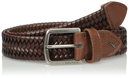 Nautica Men's Natuica Leather Web Woven Braid (Braid Leather Belt)