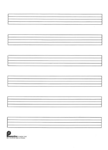 Writing Pad No. 15: 6-stave (Extra Wide): Passantino Manuscript Paper (Music Writing Pads)(fits 3 ring - Papers Music Passantino