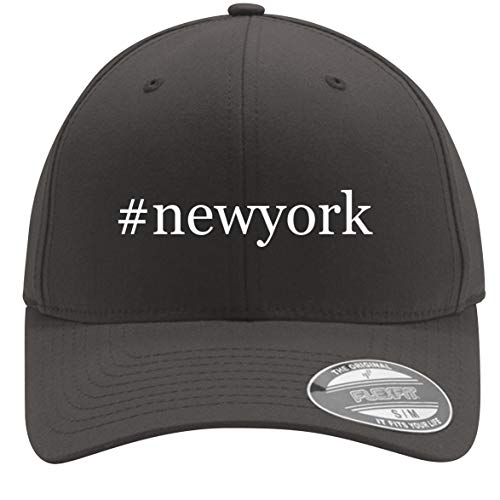 Hat Holiday York Knicks New - #Newyork - Adult Men's Hashtag Flexfit Baseball Hat Cap, Dark Grey, Small/Medium