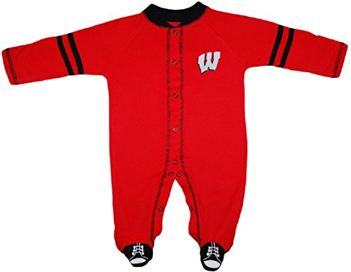Creative Knitwear University of Wisconsin Badgers Sports Shoe Footed Baby Romper ()