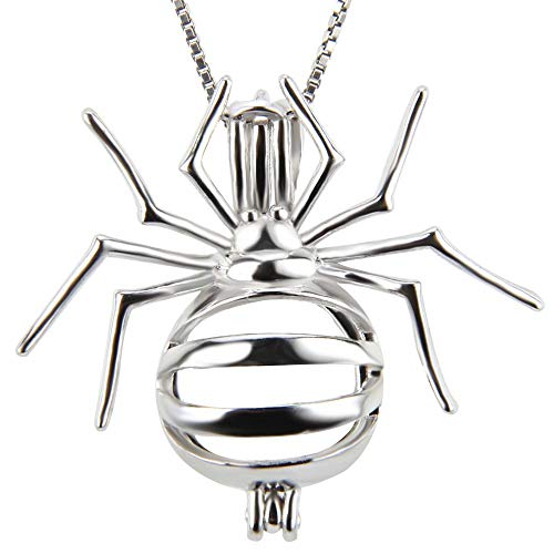 Halloween Jewelry Sterling Silver Spider Design Locket Cage Pendant Charms for Pearl Bead Lava Stone Essential Oil Diffuser Necklace Bracelets (Spider)