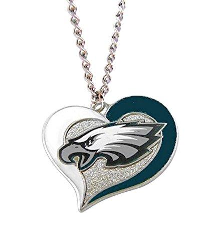 (aminco NFL Philadelphia Eagles Swirl Heart Necklace)