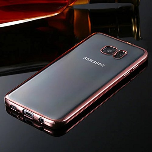Galaxy S7 case,E-weekly(TM) [Scratch Resistant] Premium Flexible Crystal Soft TPU Bumper Silicone Case with Electroplate Frame Fit for Samsung Galaxy S7 with Screen Protector (Rose Gold)
