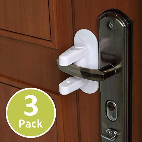 Outsmart Child Proof Door Lever Lock [3 Pack] - 3M Adhesive Child Safety Baby Proofing Door Handle Lock, Anti Lock-Out Design for Bathroom/Bedroom/French Door - BabeCare Idea
