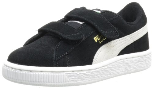 PUMA Suede Classic 2-Strap Sneaker, Black/White, 10 M US Toddler (Womens Puma Icon)