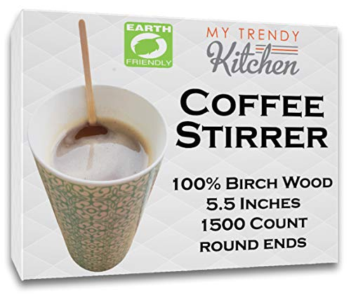 Wooden Coffee Stir Sticks 1500 Count - Eco-Friendly Splinter-Free Birch Wood - Disposable Coffee, Tea, Beverage Mixing Stirrers with Round Ends by My Trendy Kitchen (Image #4)