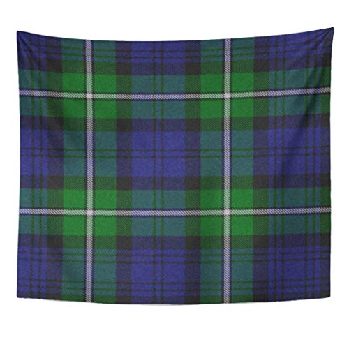 Semtomn Tapestry Artwork Wall Hanging Colorful Scottish Traditional Forbes Tartan Blue Customizable Room 60x80 Inches Home Decor Tapestries Mattress Tablecloth Curtain Print -