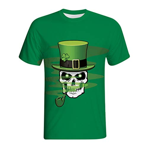 OrchidAmor 2019 Mens 3D Swag Print Casual Comfy St. Patrick's Day Short-Sleeved Muscle Tank Top Shirt Top Blouse Green