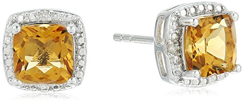 ion Citrine and Diamond Accented Halo Stud Earrings (Citrine And Diamond Earrings)