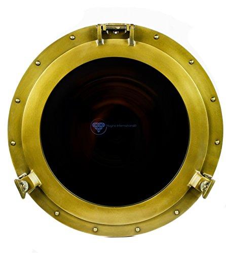 Porthole Accents - Powder Coated Antique Vintage Nautical Premium Aluminum Pirate's Ship's Porthole Mirrors| Exclusive Wall Decor Accent | Nagina International (12 Inches, Antique Brass)