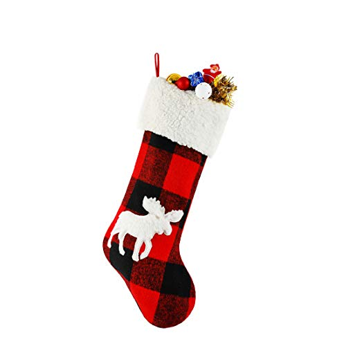 (INCHOICE 20.5 inch Christmas Stockings with Reindeer Snowy White Faux Fur Red and Black Plaid Hanging Stocking for Holiday Party Decorations Gift (Reindeer Red and Black)