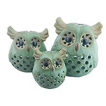 Cute European Style Lovely Ceramic Owl Candle Tea Light Holder Candlestick Pillar For Home Desk Restaurant Bar Halloween Mask Party Decor(Green,Meduim)