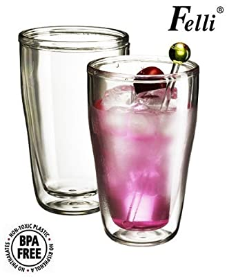 Felli- Crystal clear double wall cup / high ball tumblers. for Beer/Cocktail/Lemonade/Ice tea. (set of 2/25oz)(U363310)