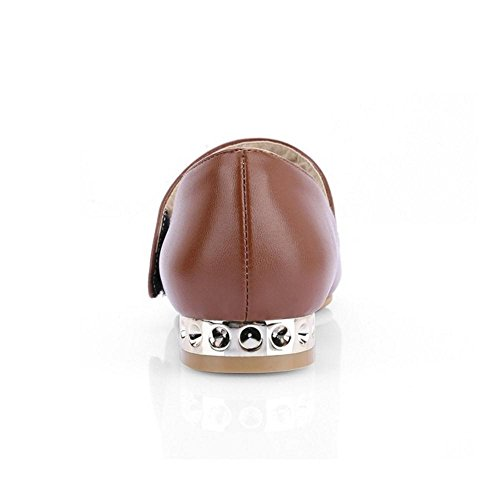 TAOFFEN Women's Pointed Toe Flat Court Shoes Brown-31 yktpRO