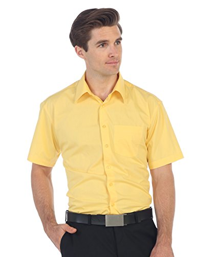 Battlestar Galactica Costumes (Gioberti Men's Short Sleeve Solid Dress Shirt, Banana,)