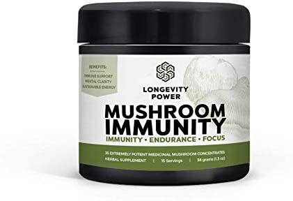 Mushroom Immunity, 35 Extremely Potent Medicinal Mushroom Concentrates in 1 Easy to Take Powder, 15 Servings, 38g 1.3 oz