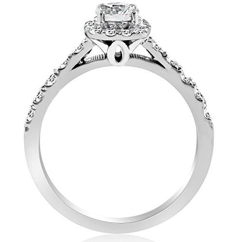 1ct Cushion Halo Diamond Engagement Ring 14K White Gold - Size 4 by P3 POMPEII3 (Image #1)