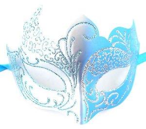 Light Blue Aqua Silver Venetian Mask Masquerade Mardi Gras Halloween (Masquerade Halloween)