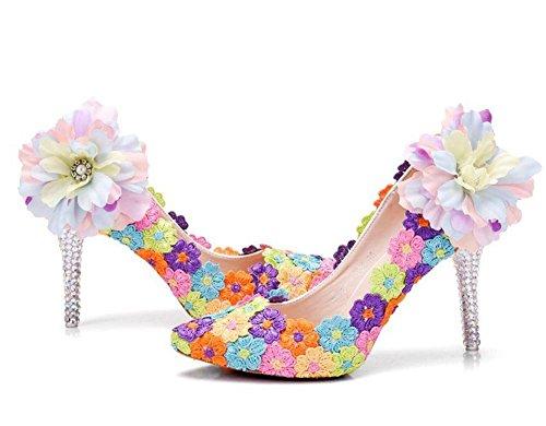 Boda Nupcial Corte Zapatos Mujer Color Cordón Vestir Alto Tacón Noche Primavera Señoras Zapatillas tamaño 35-41 color